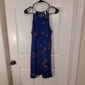 Blue dress with floral pattern